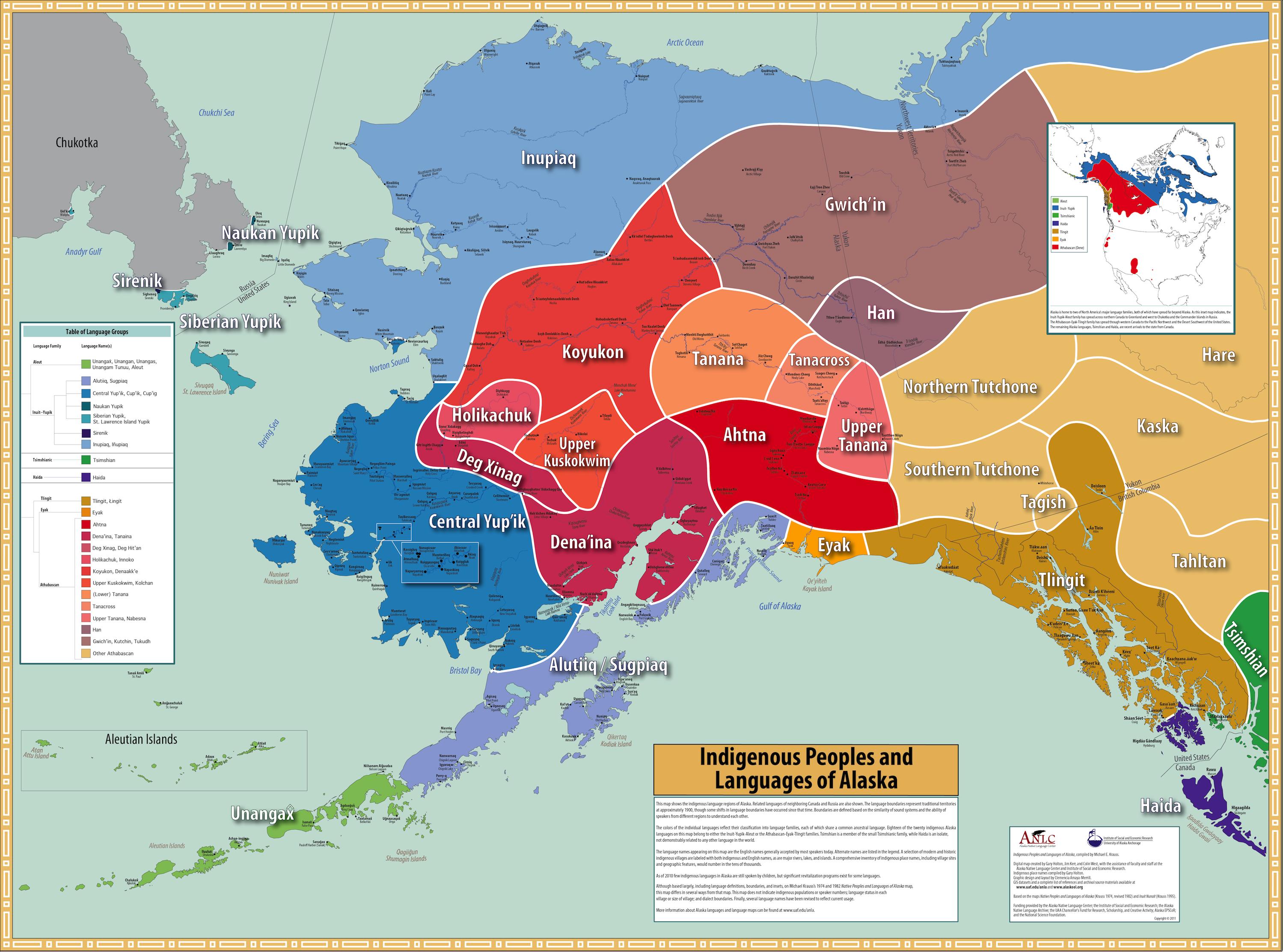 Alaska Native Languages map